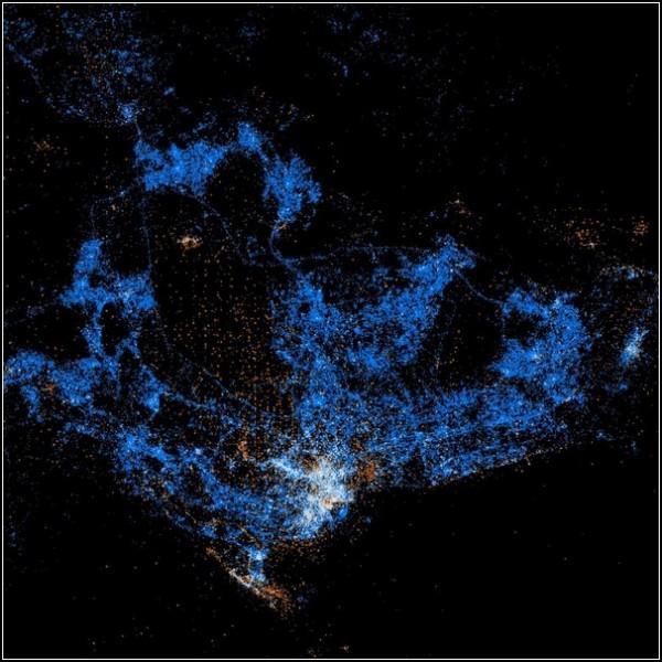 Карты пользователей Flickr и Twitter. Сингапур