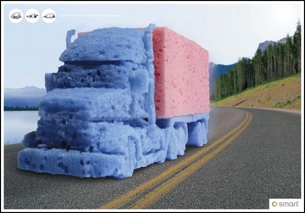 Искусство скульптуры в рекламе. Губчатые автомобили