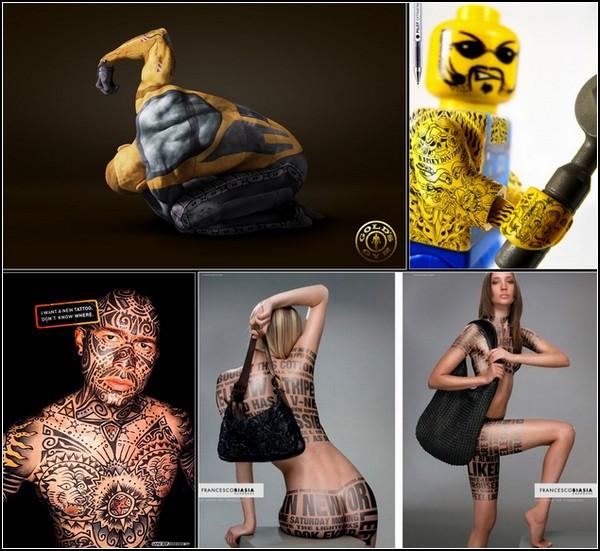 Рисунки на коже. Необычные татуировки в рекламе