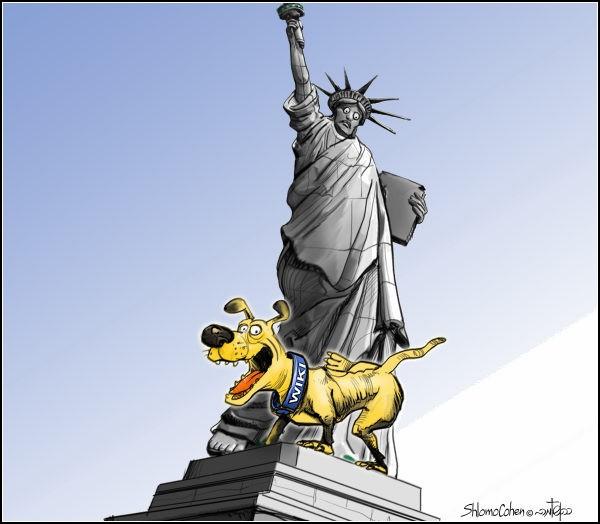 Документы WikiLeaks в карикатурах. Статуя Свободы облита