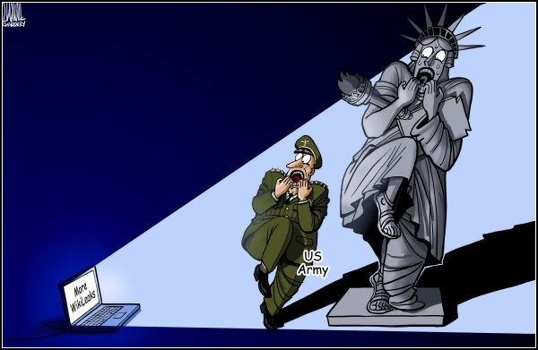 Документы WikiLeaks в карикатурах. Еще одна пострадавшая Статуя Свободы