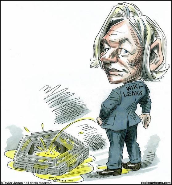 Документы WikiLeaks в карикатурах. Ассанж атакует Пентагон