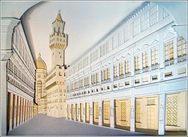 Мировые достопримечательности из бумажных городов: галерея Уфицци