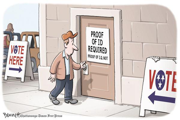 Политические карикатуры Клея Беннетта: «Требуется удостоверение личности, справка об IQ не нужна»