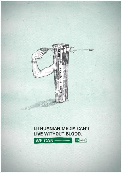 Литовская газетная реклама: «СМИ жить не могут без крови»