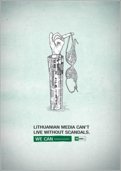 Литовская газетная реклама: «СМИ жить не могут без скандалов»