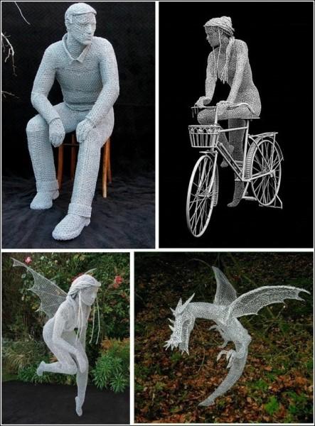 Феи, люди и звери Дерека Кинцетта: современная скульптура из проволоки