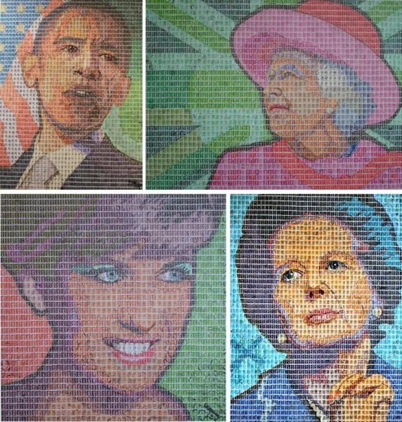 Пуантилизм в поп-арте: Барак Обама, Елизавета II, леди Ди, Маргарет Тэтчер