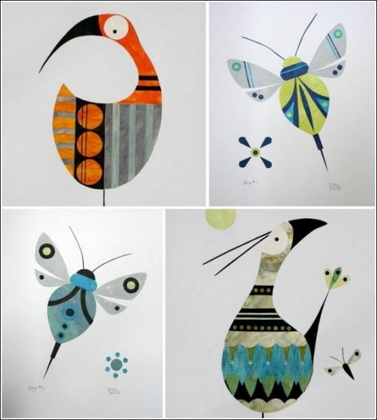 Техника аппликации Ричарда Лонгдена: удивленные птички и жизнерадостные мотыльки
