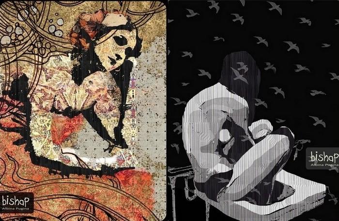 Орнаментальные рисунки Альбины Пугиной: задумчивые девы