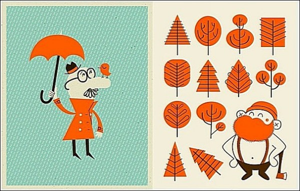 Оранжевые люди, оранжевая зелень: яркие рисунки Алекса Вестгейта