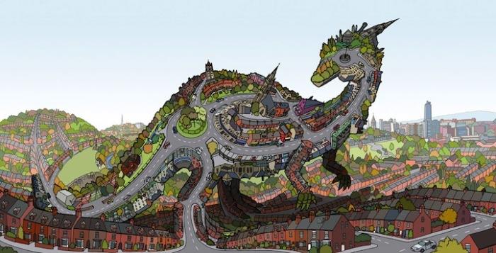 Арт-нашествие динозавров: граффити, рисунки и скульптуры Энди Каунсила