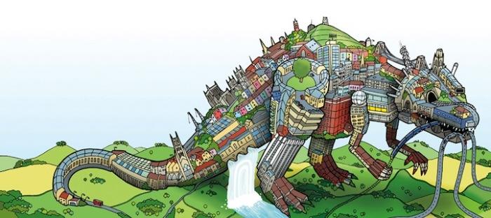 Современный урбанистический пейзаж превращается...