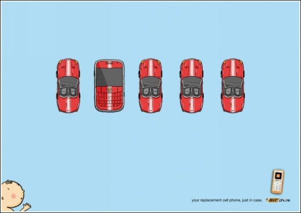 Остроумная реклама мобильных телефонов: новая машинка с кнопочками!