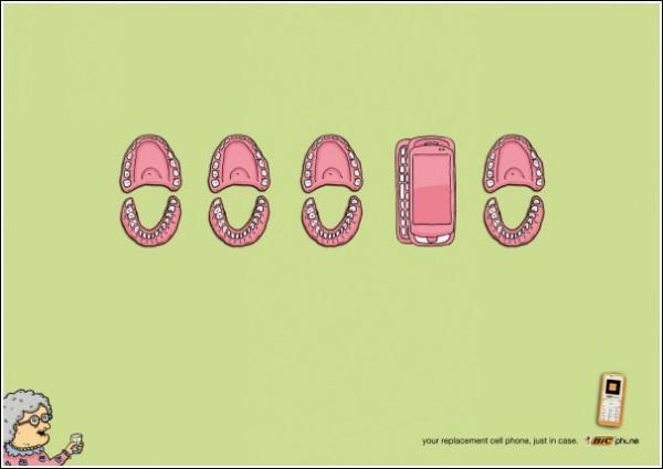 Остроумная реклама мобильных телефонов: вставная челюсть почему-то светится и вибрирует