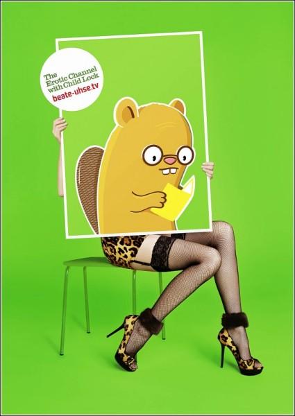 Реклама эротического телеканала с блоком от детей: бобер