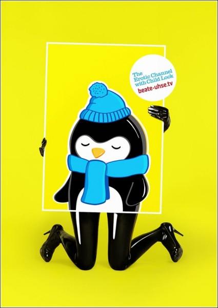 Реклама эротического телеканала с блоком от детей: пингвин