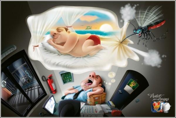 Забавная реклама средства против комаров: пляж