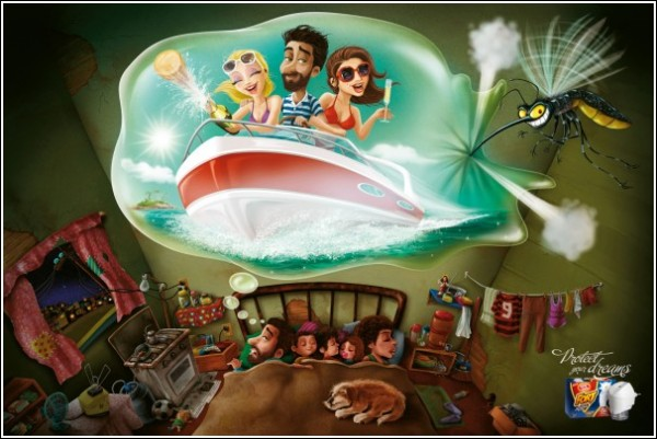 Забавная реклама средства против комаров: лодка с девицами