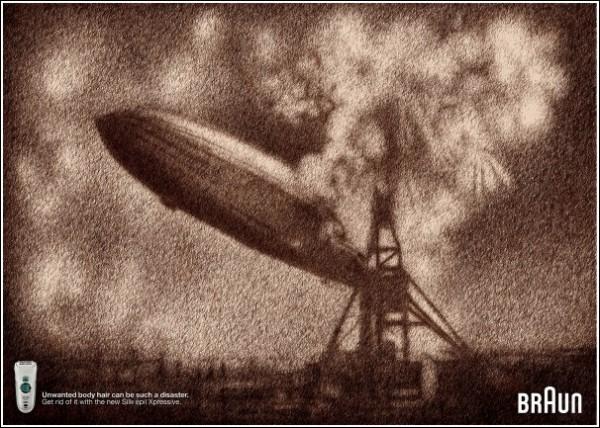 Падение *Гинденбурга*: оригинальная реклама эпилятора
