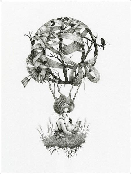 Полет на собственных волосах: сказочные рисунки Кортни Бримс