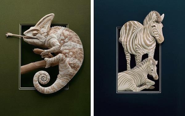Бумажные животные Кэлвина Николлса: хамелеон и зебра