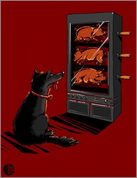 Юмористические рисунки Фернандо Дегросси: у собаки - свой *телевизор*