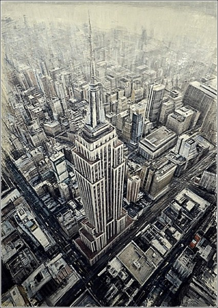 Серый город Нью-Йорк, растущий вверх