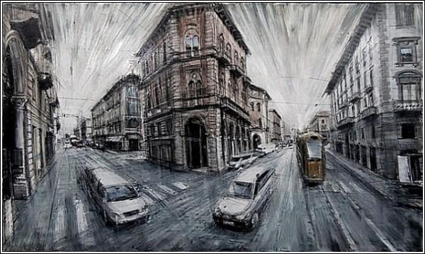 Серый город на картинах Эмилио Валерио Д'Оспины