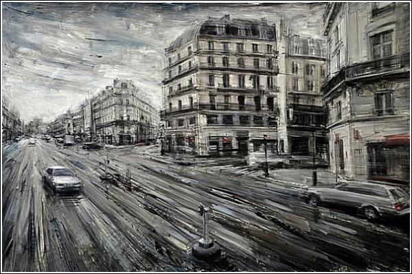 Серый город в технике абстрактного реализма