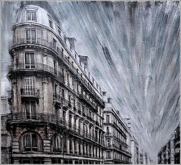 Серый город на картинах Эмилио Валерио Д'Оспины: дороги и здания