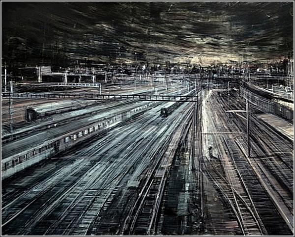 Серый город на картинах Эмилио Валерио Д'Оспины: рельсы, поезда