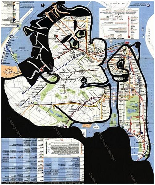 Оригинальные работы Ингрид Дебрингер: карта нью-йоркского метро