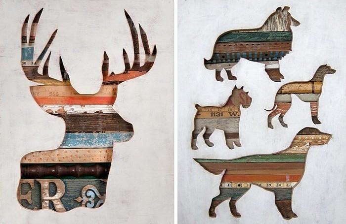 Полосатые силуэты: деревянные картины Долана Геймана