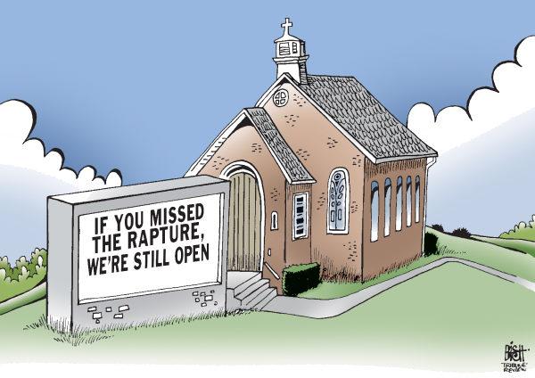 Карикатуры на тему не состоявшегося конца света: «Если вы пропустили вознесение, мы все еще работаем»