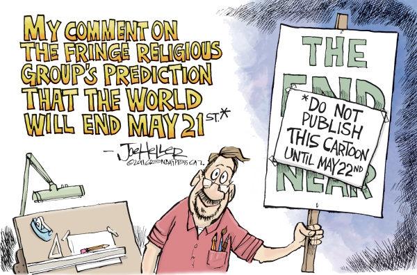Карикатуры на тему не состоявшегося конца света: «Не публикуйте этот рисунок до 22 мая»