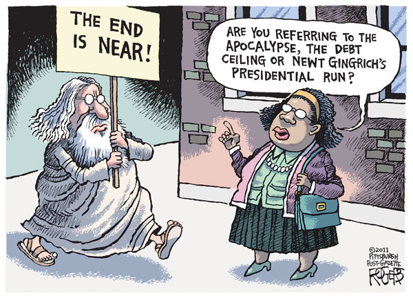 Карикатуры на тему не состоявшегося Апокалипсиса: «Конец близок!»