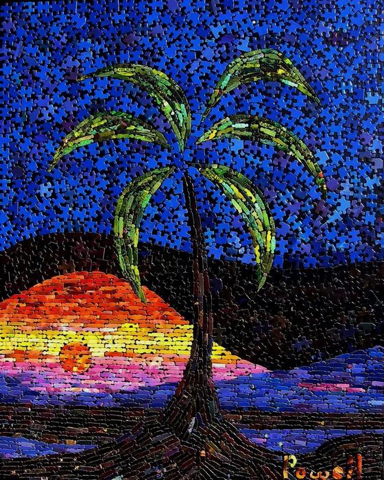 Рисунки мозаикой: море, а на море суша, а на суше пальма...