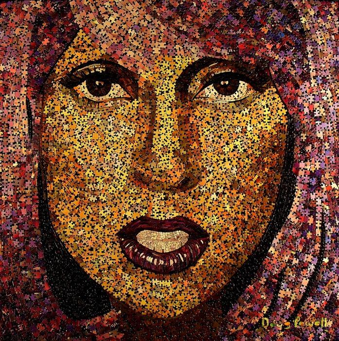 Рисунки мозаикой: глазастая Леди Гага