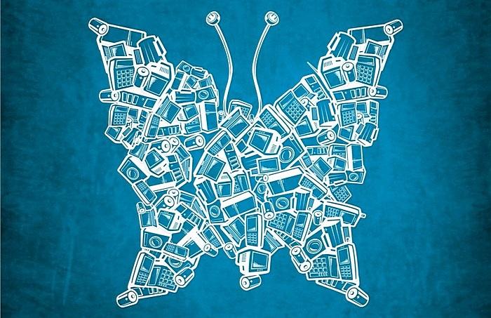 Телевидеобабочка: креативные плакаты о ресайклинге