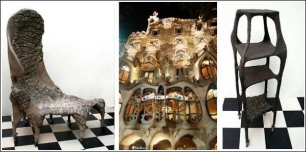 Гаудианская индивидуальная мебель Карин Франкенштейн (в центре - дом Бальо)