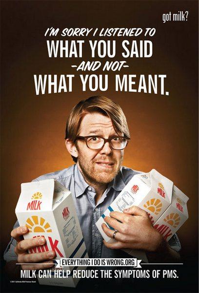 Ироничная реклама молока: «Прости, что слушал то, что ты говорила, а не то, что имела в виду»