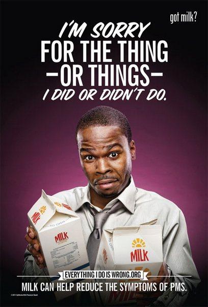 Ироничная реклама молока: «Прошу прощения за ту вещь (или вещи), которые я сделал (или не сделал)»