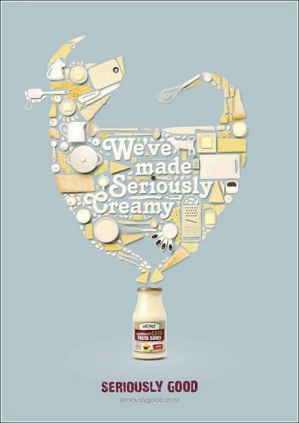 Корова (= сливки) из кухонной утвари и продуктов: оригинальная реклама соусов