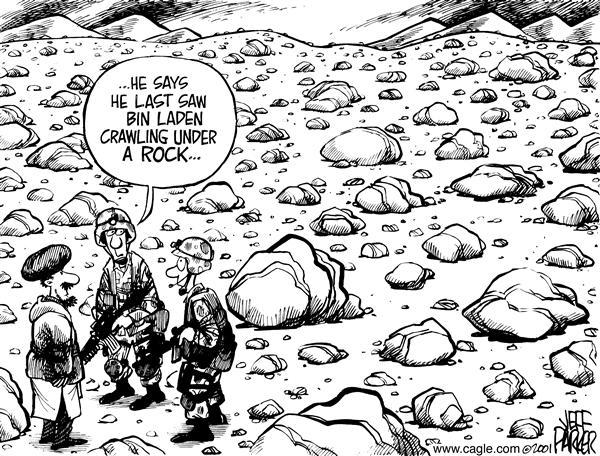 Политические карикатуры на смерть Усамы бин Ладена: за каким булыжником скрывается террорист?