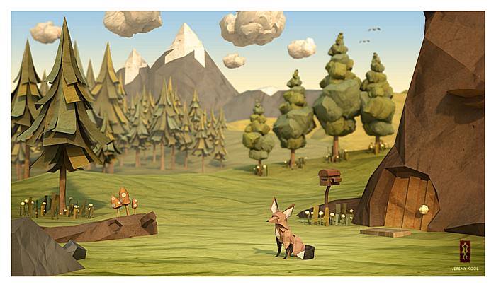 Бумажный Лис и бумажный лес: оригами или цветные иллюстрации?