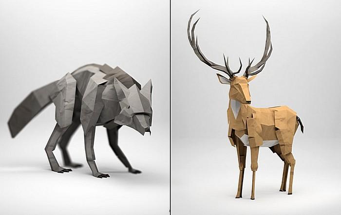 Волк и Олень: оригами или цветные иллюстрации?