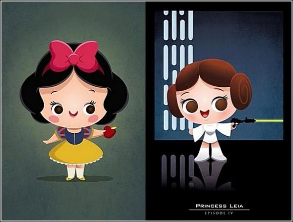 Белоснежка и принцесса Лея: веселые рисунки Джеррода Маруямы