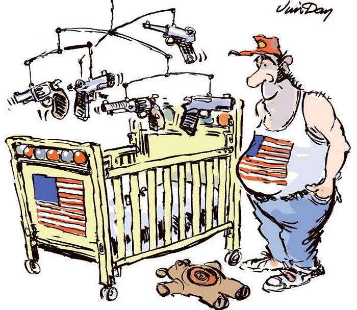 Пушки - детям не игрушки? Американские карикатуристы об огнестрельном оружии