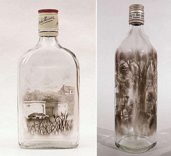 Необычные картины на стеклянной таре
